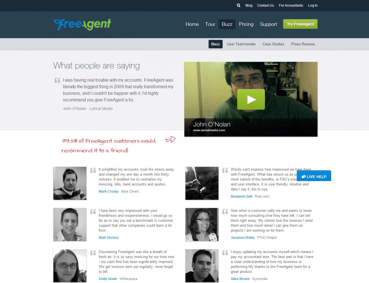 freeagent.com testimonials