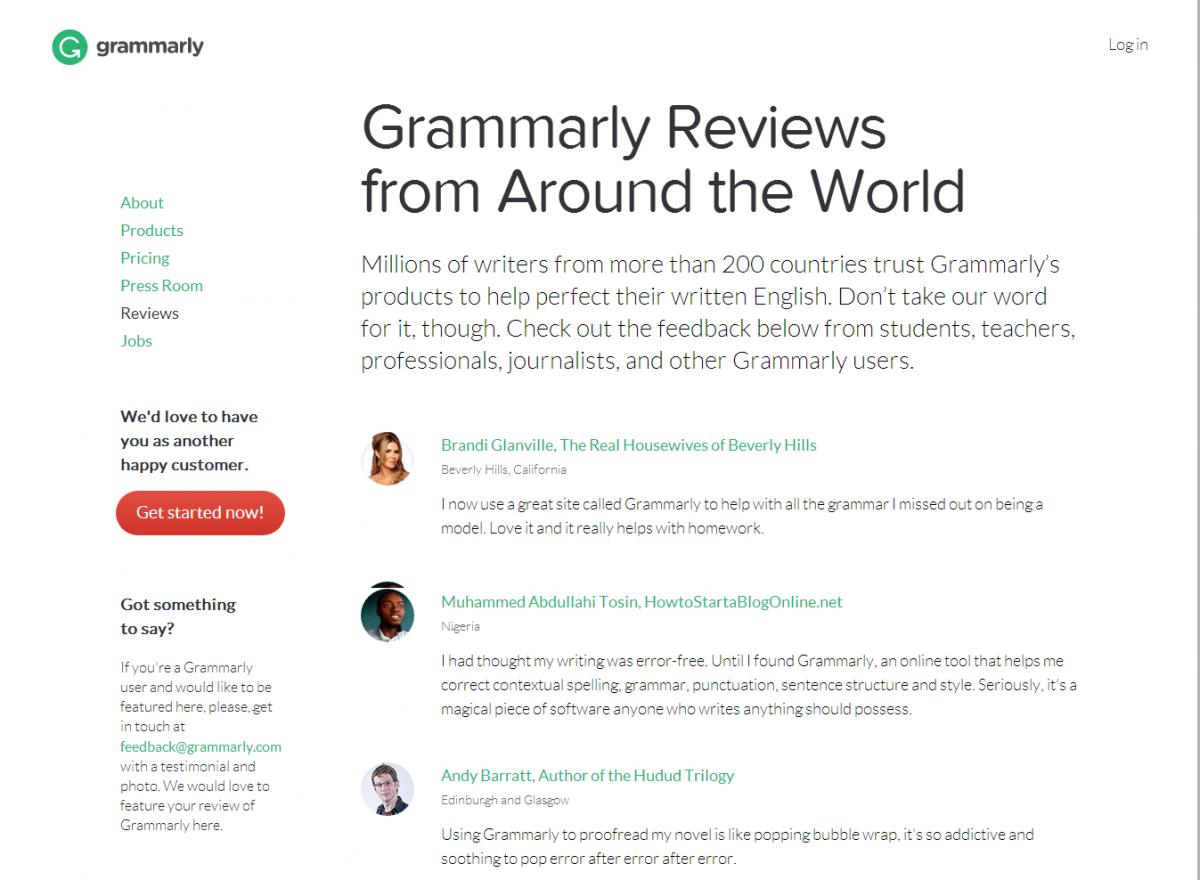 grammarly.com testimonials
