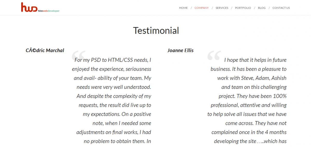 hirewebdeveloper.com testimonials
