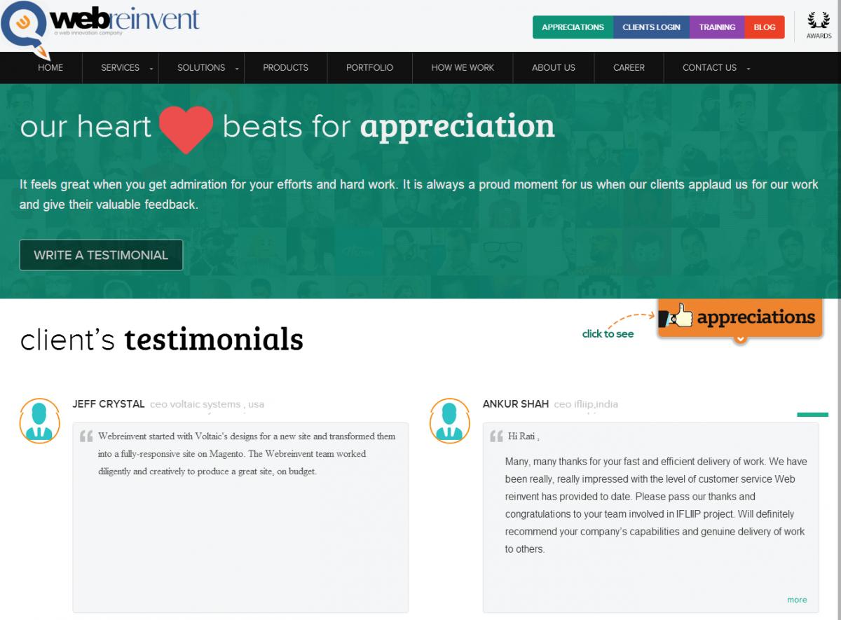 webreinvent.com testimonials