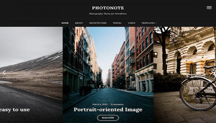 Photo Note 2.0 WordPress photography theme